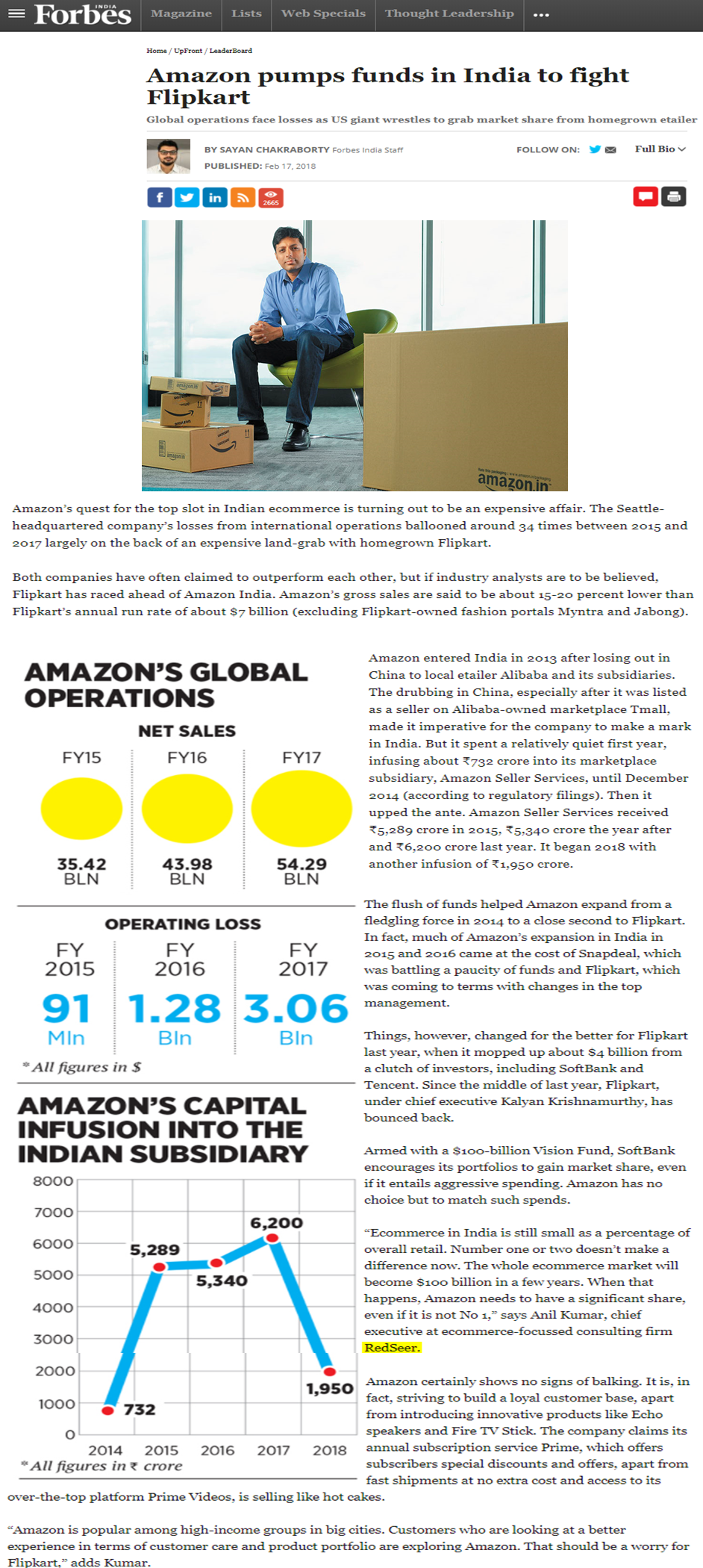 Amazon pumps funds in India to fight Flipkart