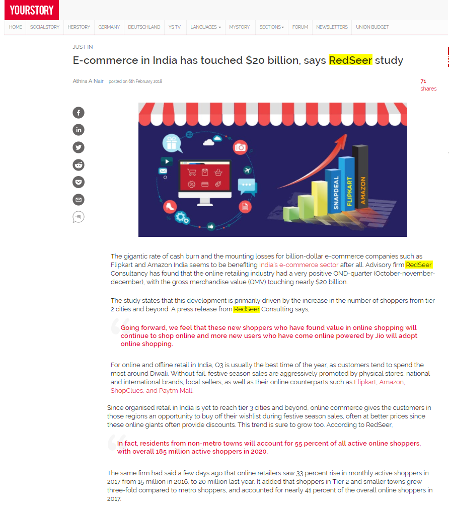 E-commerce in India has touched $20 billion, says RedSeer study