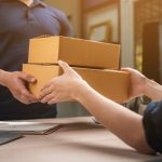parcel delivery with good depth of field. Friendly worker with high quality delivery service.